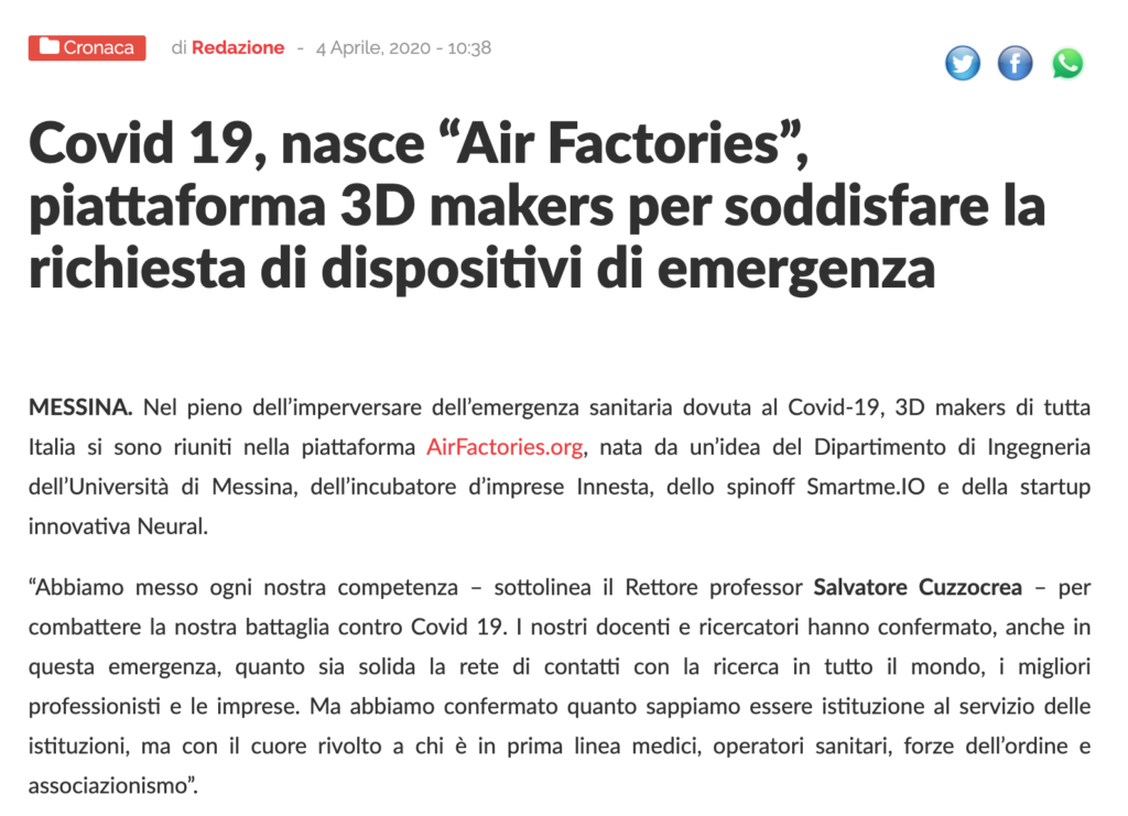 Airfactories.org - rassegna stampa - letteraemme.it